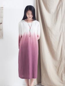 麻蚕禅圆领连衣裙