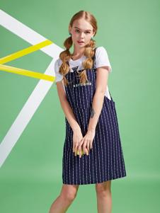 sardana 2016新品条纹背带裙