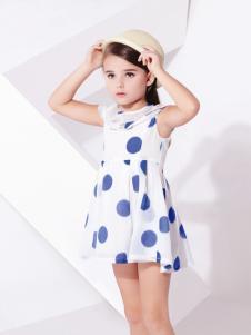 巴拉邦童装新款大波点裙子