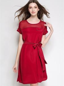 亿丽黛2016新品红色收腰连衣裙