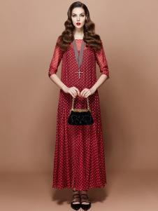 TITI 2016新品红色波点长裙