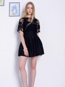 2016然可时女装新款黑色连衣裙