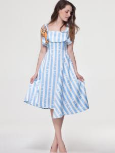 loey艾露伊女装条纹连衣裙