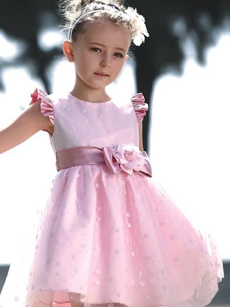 芭乐兔童装粉色连衣裙