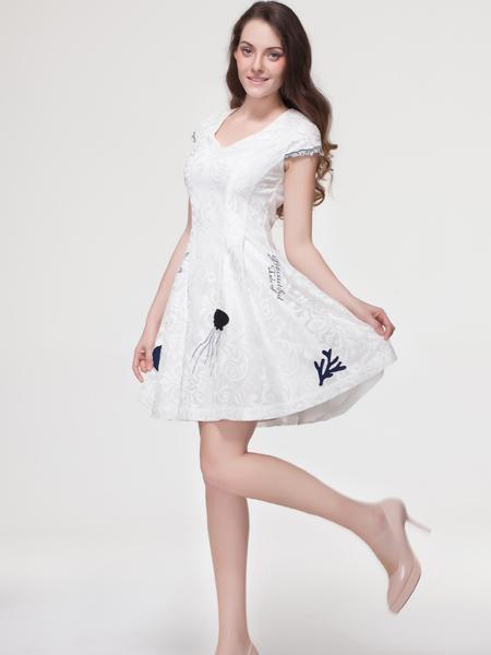 艾露伊女装2016夏季新品白色连衣裙