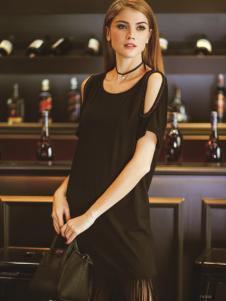 戴芙琳2016新品黑色流苏裙