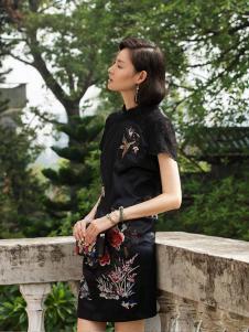 2016渔牌女装新款黑色旗袍