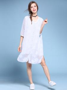 2016维曼缇女装白色连衣裙