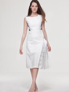 艾露伊女装夏季新款白色长款连衣裙