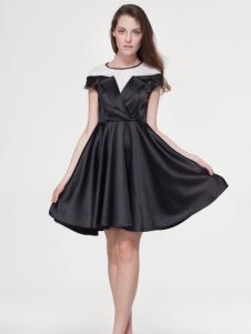 艾露伊loey女装夏季新款黑色连衣裙