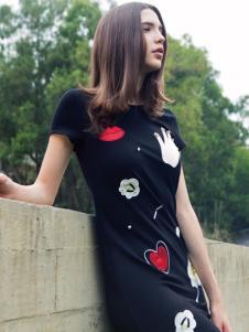 蜜西娅女装2016新款黑色修身连衣裙