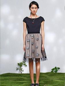2016熙然女装新款黑色连衣裙