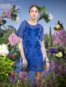 2016温莎蒂女装新款蓝色连衣裙