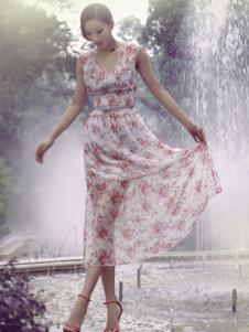 香莎女装新品印花连衣裙