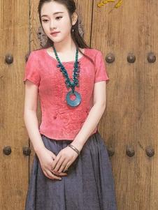 曼茜纱2016新品圆领红色上衣