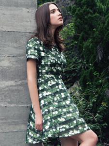 蜜西娅女装2016新款绿色碎花连衣裙