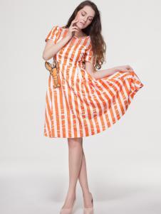 艾露伊女装条纹连衣裙
