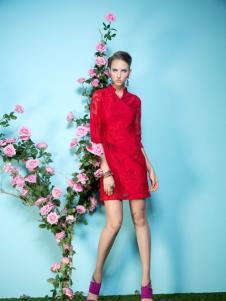 2016温莎蒂女装新款红色连衣裙