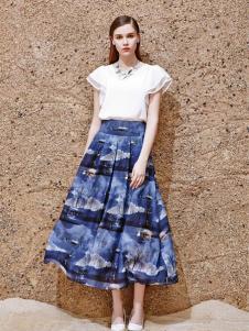 2016古姿语新款印花半裙
