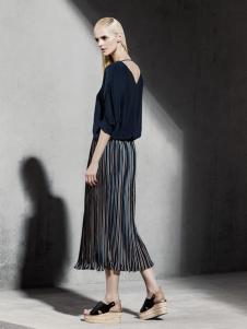 LAPORA 2016新品条纹褶裙