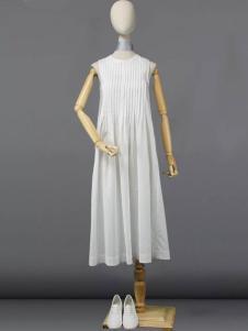 道内2016新品褶皱无袖连衣裙