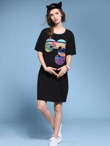 2016维曼缇女装圆领黑色连衣裙