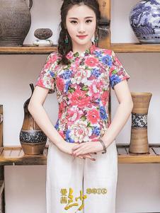 曼茜纱2016新品印花上衣