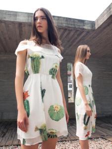 蜜西娅女装2016新款露肩连衣裙