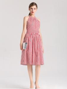 曼娅奴红色条纹连衣裙