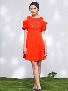 2016熙然女装新款红色连衣裙