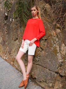 2016蒙杰诗丹女装夏季新款红色T恤