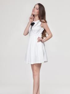 艾露伊女装白色连衣裙