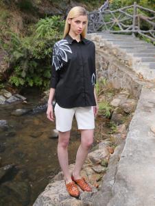 2016蒙杰诗丹女装夏季新款黑色衬衫