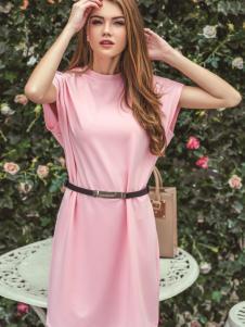 戴芙琳2016新品粉色长裙