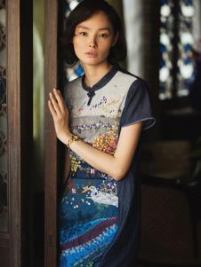 2016渔牌女装新款印花旗袍