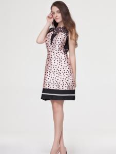 艾露伊女装夏季波点连衣裙