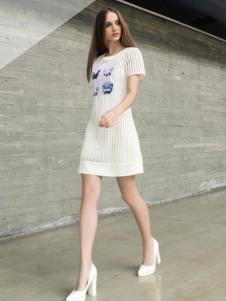 蜜西娅女装2016新款白色连衣裙