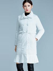 艾丽哲白色长款羽绒服