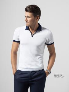 2016劲霸男装新款白色T恤