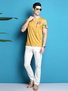 2016太子龙男装新款黄色T恤
