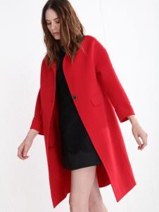 法曼斯女装2016红色呢大衣