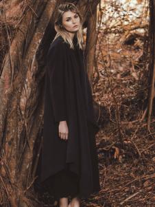 唯简尚女装秋冬新款黑色长款大衣