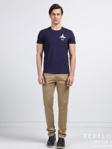2016太子龙男装新款深蓝色T恤