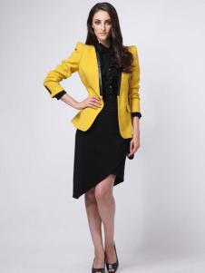 2016高田女装新款黄色外套