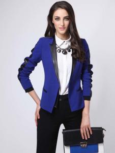 2016高田女装新款蓝色外套