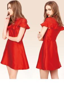 G&F青花语一字肩连衣裙