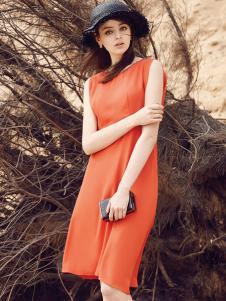 如缤女装2016新品橙色收腰连衣裙