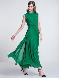 卓依尔女装长款绿色连衣裙