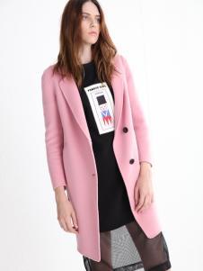 法曼斯女装2016粉色呢大衣