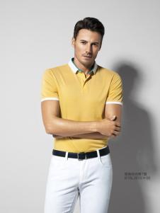 2016劲霸男装新款黄色T恤
